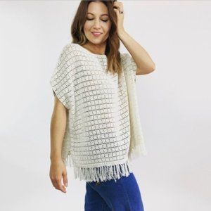 NWT Joie Ivory Crochet Knit Top